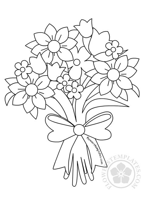 Beautiful Flower Bouquet Coloring Page   Flowers Templates