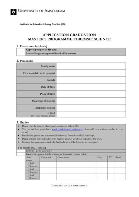 Application form diploma master Forensic Science