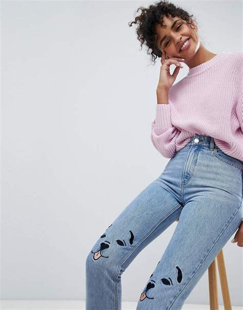 Monki Kimomo Dog Patch Jean (With images) | Patched jeans
