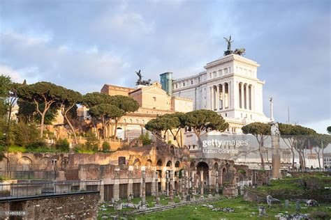 Roman Forum And Vittoriano Monument In Rome Italy High-Res