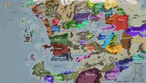 Made a Map of Faerun (as of 1492 DR) with Nations and City