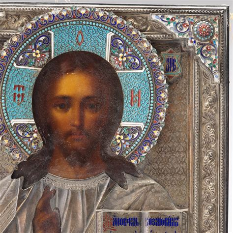 A Russian silver and cloisoné enamel icon of Christ