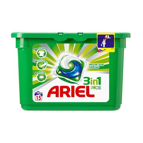 ARIEL Mountain Spring 3in1 Pods Caps 15 Laundry Washing