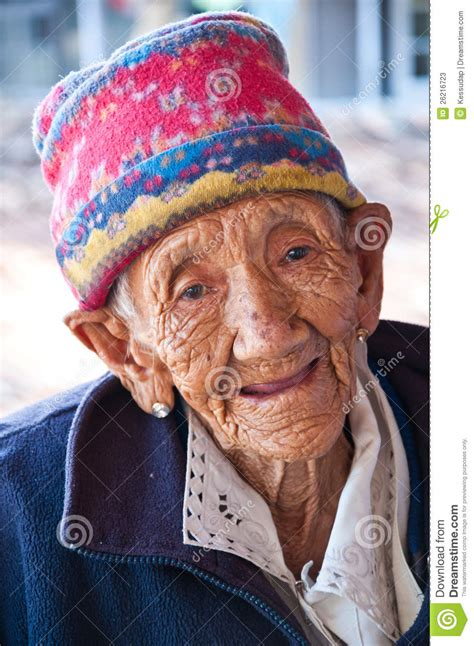 Old lady smile with happy editorial stock photo