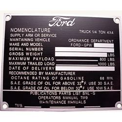 DATA PLATE SET LATE WWII FORD GPW JEEP US MANUFACTURED AJP101