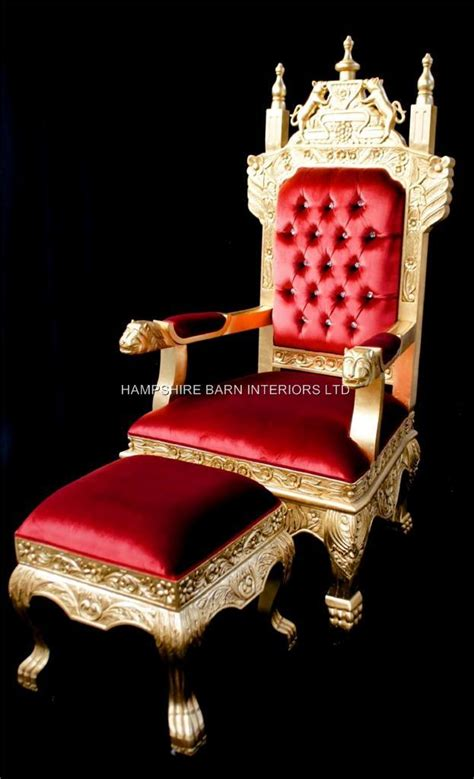 A Tudor Royal Throne Chair Gold and Red velvet | Hampshire