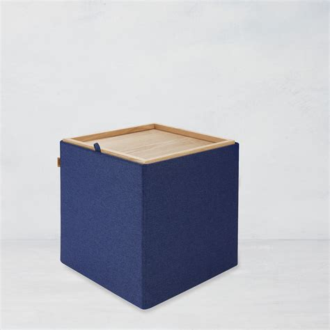 Kvell Home Trae Collapsible Storage Ottoman, Navy