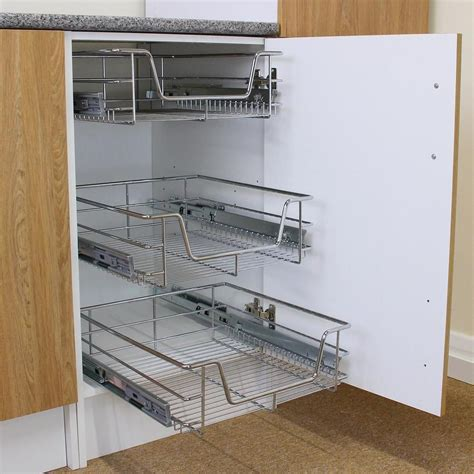 Details about 3 Pull Out Kitchen Storage Basket Rack