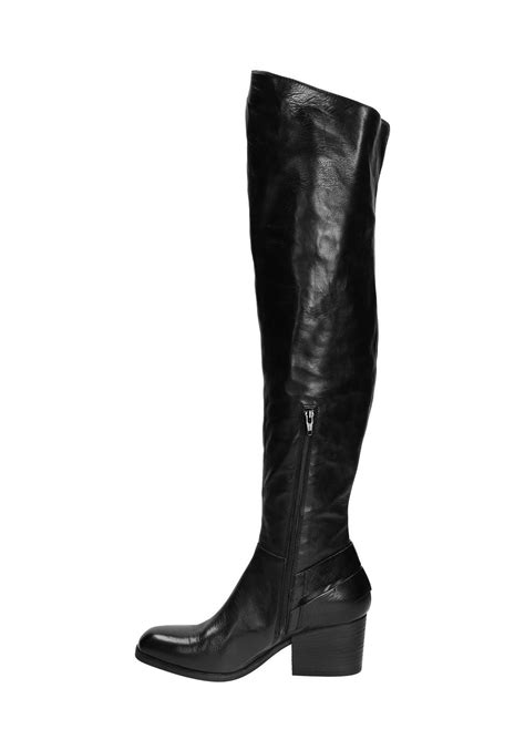 Vic Matié thigh high boots in black Leather - Italian Boutique