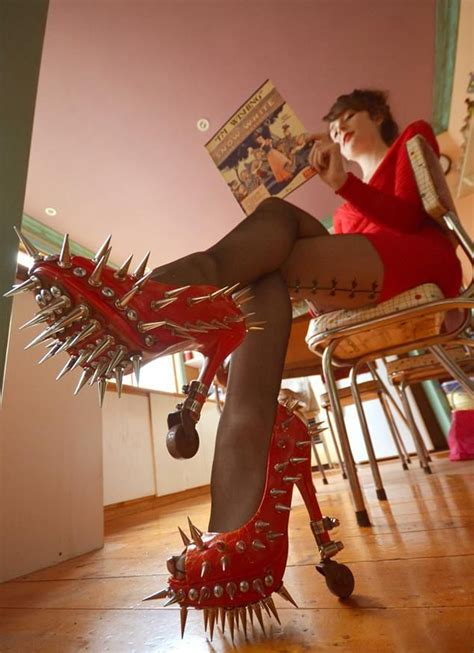 Red High Heels Shoes With Spikes Fashion Fail - Funny - Faxo